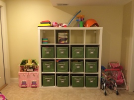 organized basement, organized toys