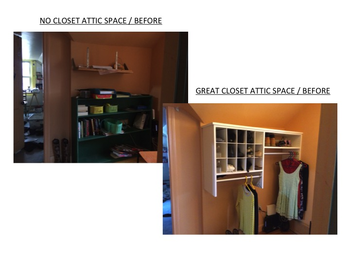 Organizer Meets An Attic With No Closet Space, Only Eaves. Organizers Helps  Client Create A Closet / Dressing Space For Teenage Daughters. Love It.